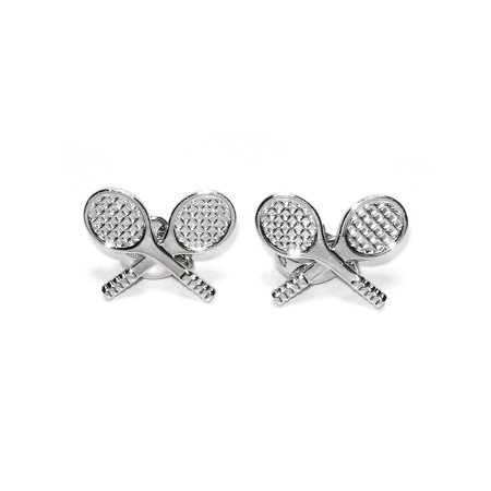 Silver-Tone Men's Cuff Links TENNIS RACKET Shaped