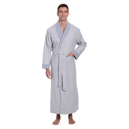 2af516fcff Noble Mount - Noble Mount Mens Premium 100% Cotton Flannel Fleece Lined Robe  - Walmart.com