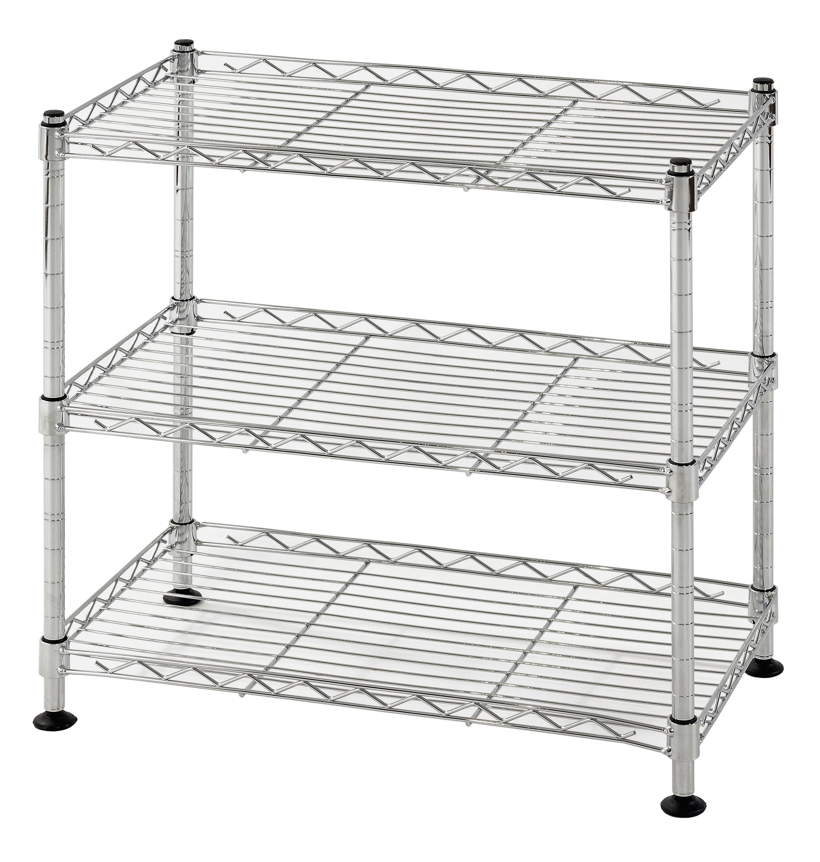 """Muscle Rack 3-Shelf 18""""W x 18""""H x 10""""D Steel Wire Shelving Unit"""