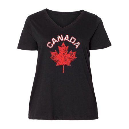 Canada Maple Leaf Ladies Curvy V-Neck Tee
