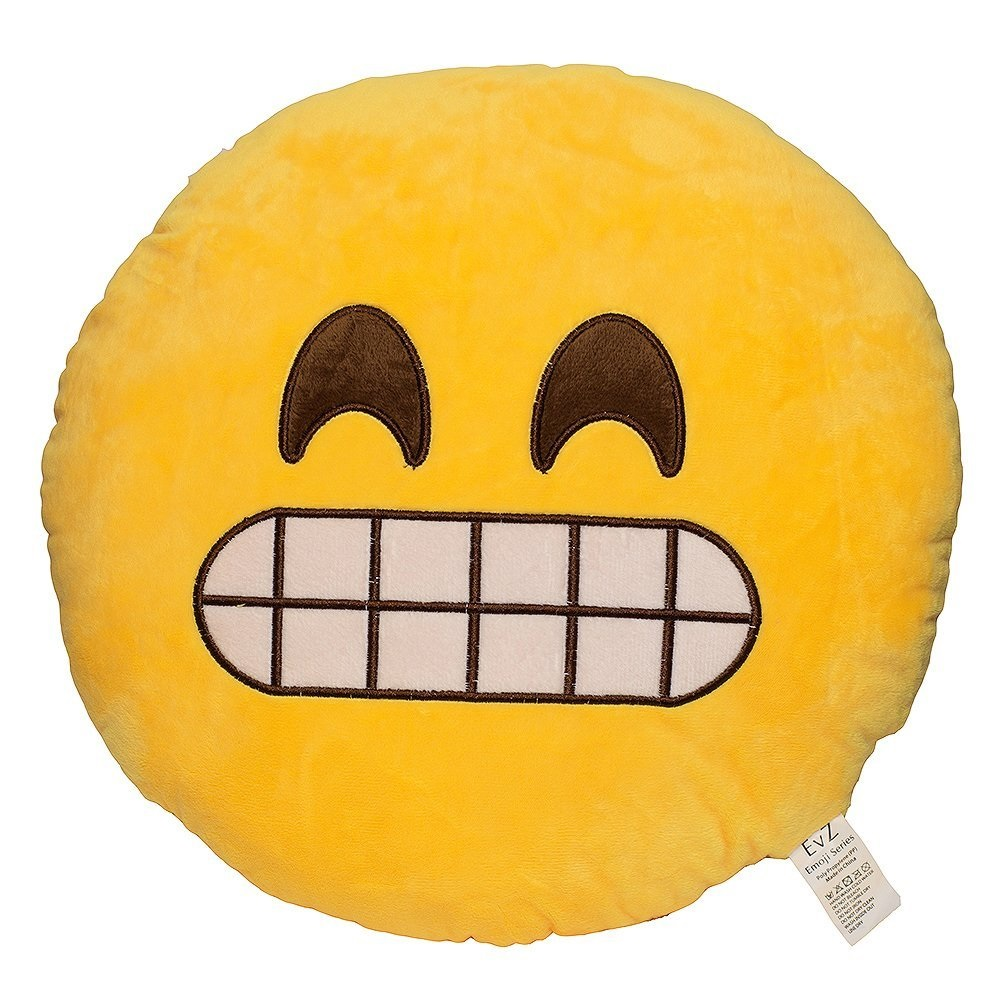 Emoji Smiley Emoticon Yellow Round Plush Pillow - Say Cheese