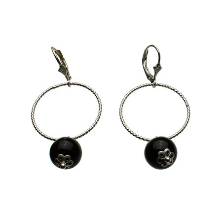 Sterling Silver Black Onyx Stone Large Circle Link Leverback Earrings
