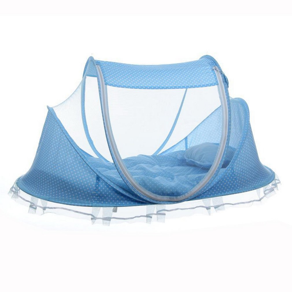 Portable Foldable Baby Kids Infant Bed Dot Zipper Canopy Mosquito Net Tent by konxa