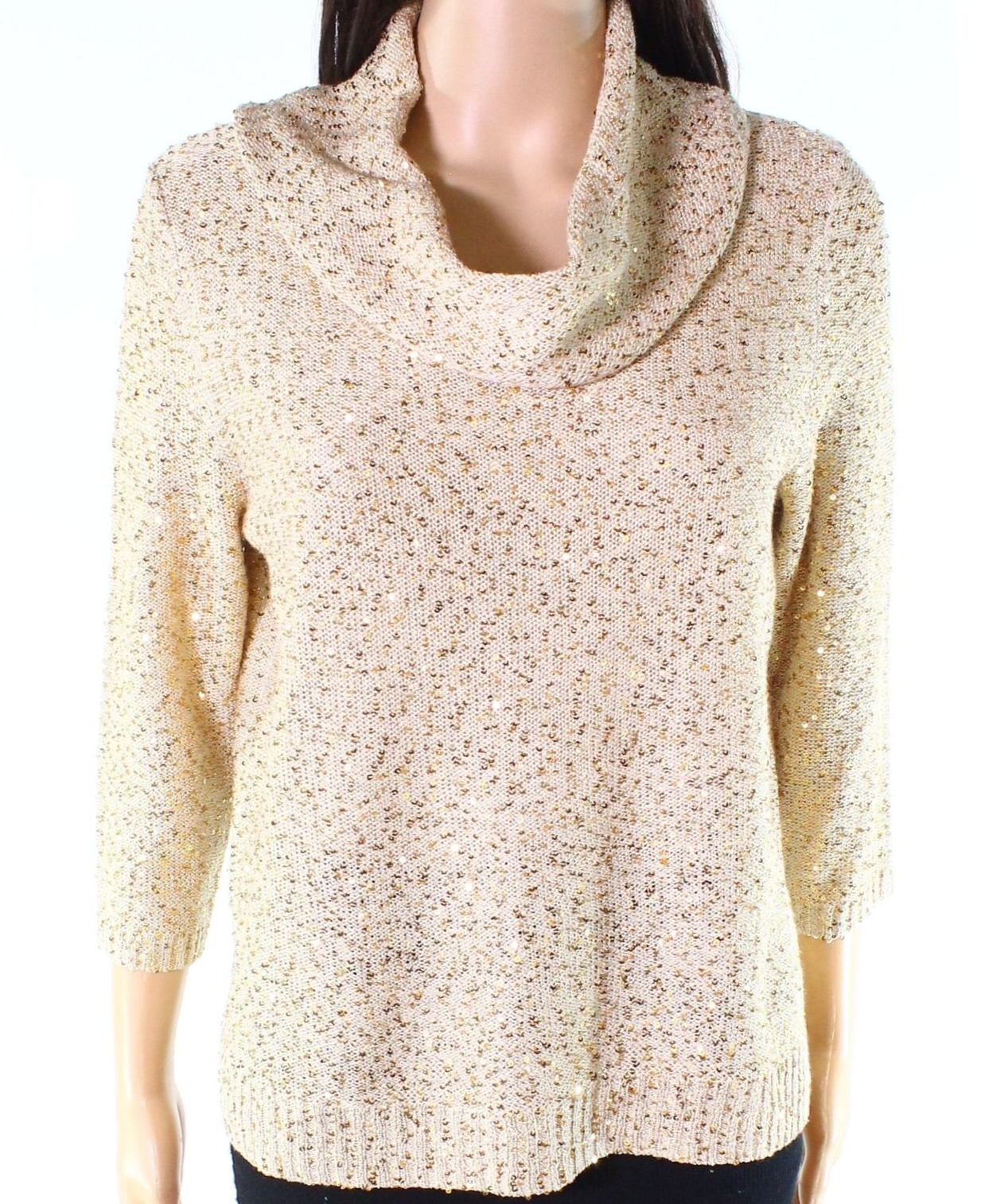 Skyes The Limit Womens Plus Size Long Sleeve Sequin Sweater with Cowl Neck