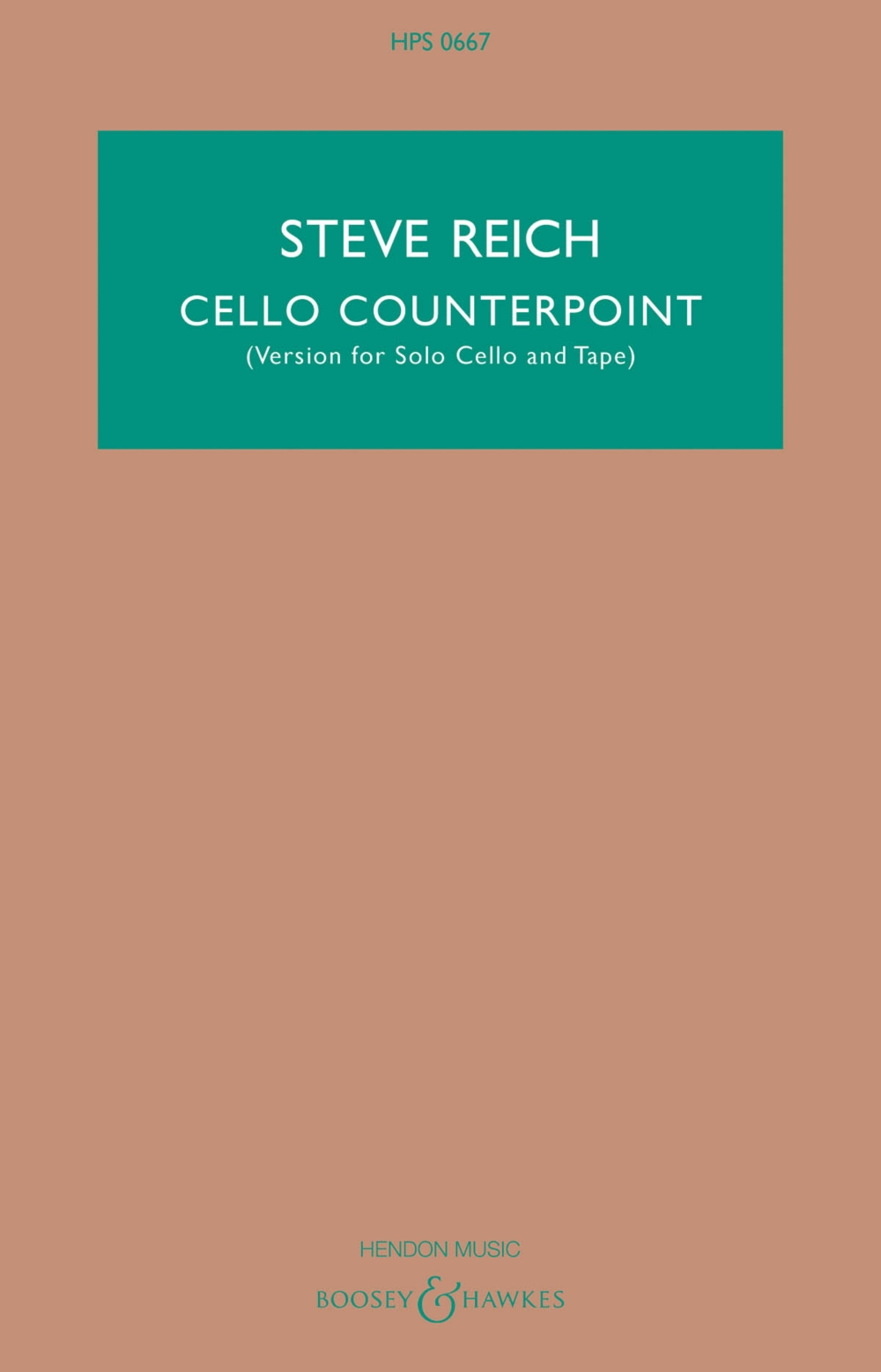 Boosey and Hawkes Cello Counterpoint (Version for Solo Cello and Tape) Boosey & Hawkes... by Boosey and Hawkes