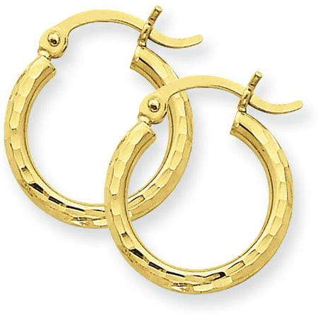 14kt Yellow Gold Diamond-Cut 2mm Round Tube Hoop Earrings