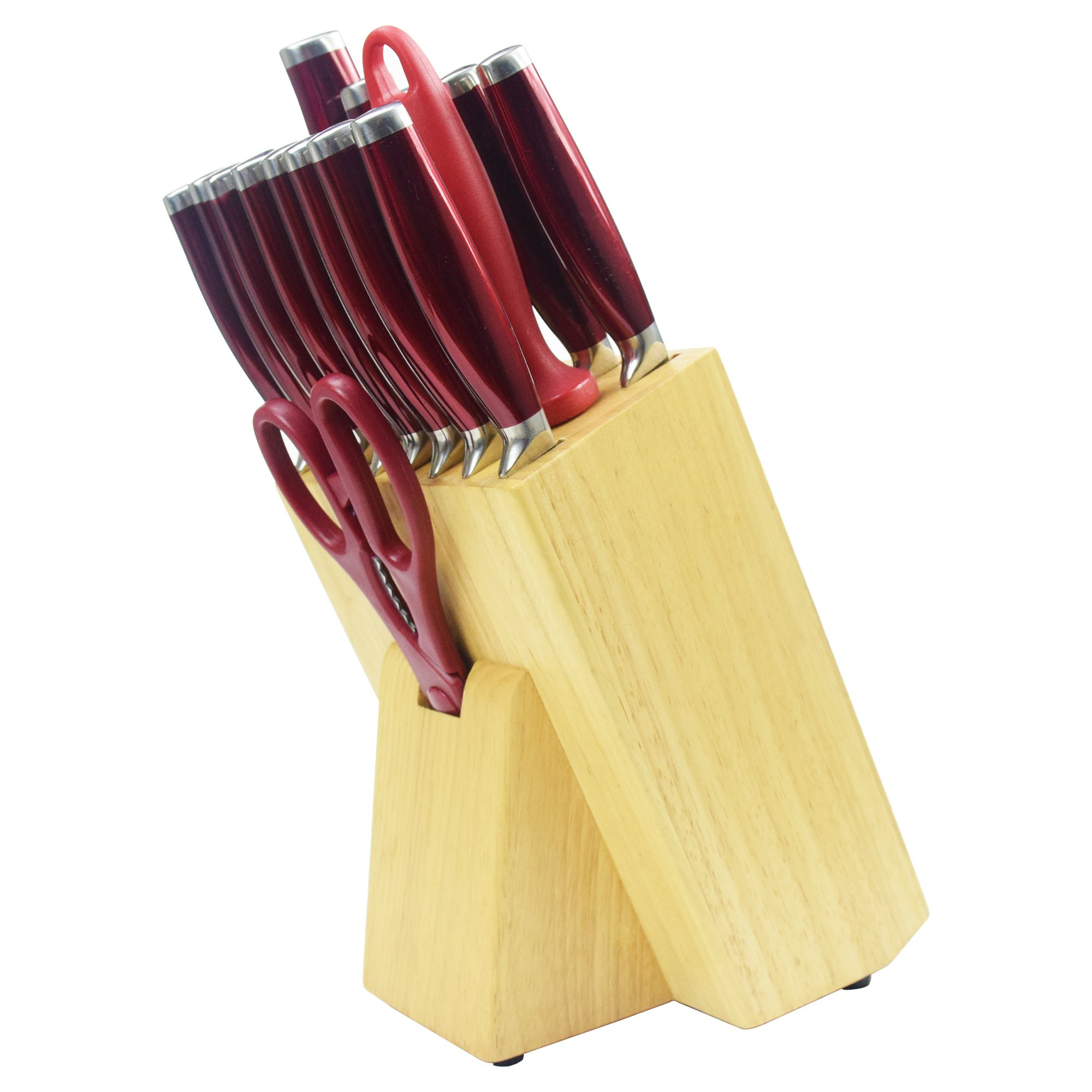 red kitchen knives chef knife set 16pcs red professional stainless steel kitchen knife block set walmart com 7285