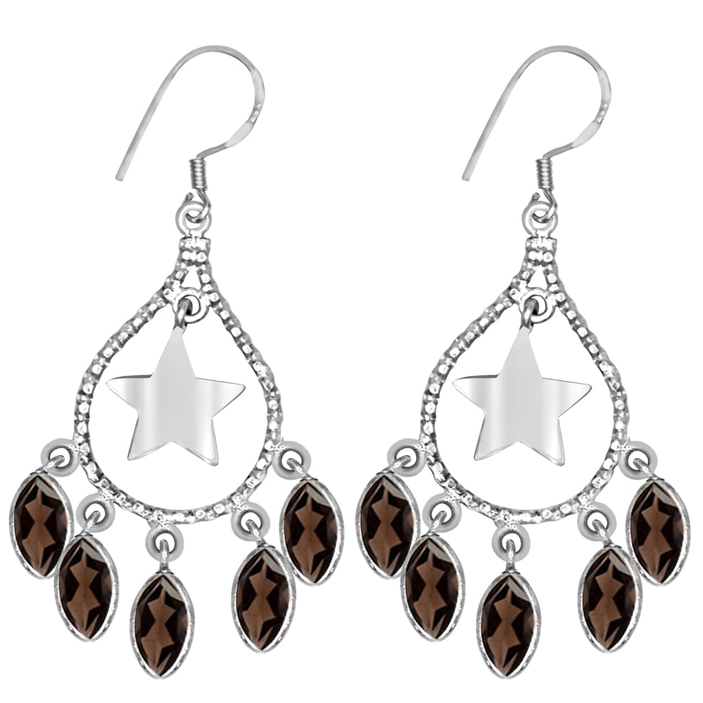 Orchid Jewelry Mfg Inc Orchid Jewelry 925 Sterling Silver 9 3/4 Carat Smoky Quartz Dangle Earrings