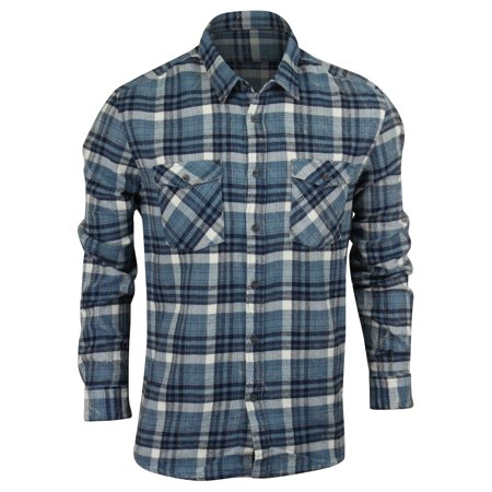 - Quiksilver Mens Lost Wave Flannel Button Up Shirt - Captain Blue - Medium