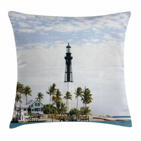 United States Throw Pillow Cushion Cover, Hillsboro Lighthouse Pompano Beach Florida Atlantic Ocean Palms Coast, Decorative Square Accent Pillow Case, 18 X 18 Inches, Blue White Green, by Ambesonne
