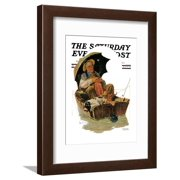 """""""Gone Fishing"""" Saturday Evening Post Cover, July 19,1930 Framed Print Wall Art By Norman Rockwell"""