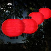 Outdoor Solar Chinese Lanterns - LED - Set of 4 by Pure Garden