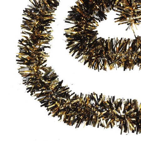 15' Black and Gold Wide Cut Tinsel Halloween Garland - Unlit