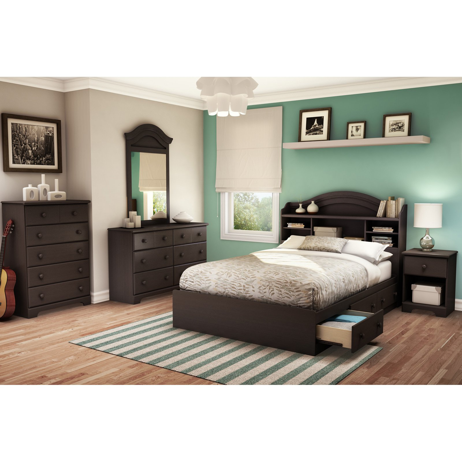 South Shore Summer Breeze Bookcase Bedroom Collection