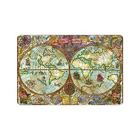 MKHERT Colorful World Atlas Map Pirate Adventures Doormat Rug Home Decor Floor Mat Bath Mat 23.6x15.7 inch