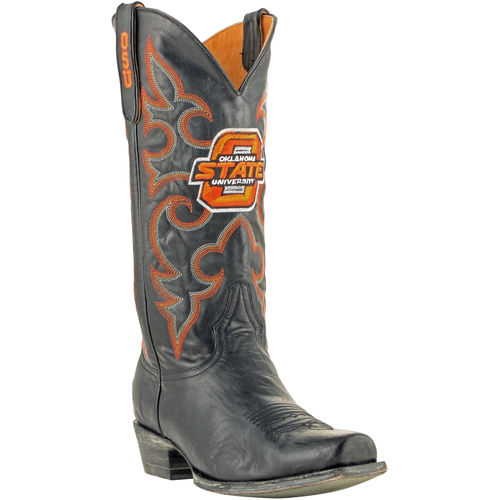 "Men's Black Oklahoma State Cowboys 13"" Boardroom Embroidered Boots by GameDay Boots"