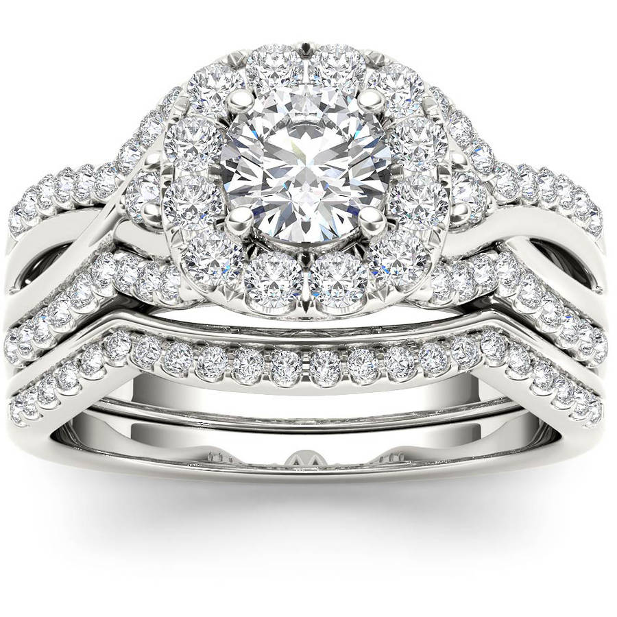 Imperial 1-1 4 Carat T.W. Diamond Criss-Cross Shank Halo 14kt White Gold Engagement Ring Set by Imperial Jewels