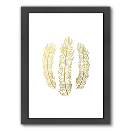 Americanflat  'Feathers Gold Foil' Framed Wall Art