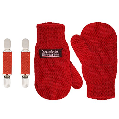 SANREMO Unisex Kids Toddler Knitted Fleece Lined Warm Winter Mittens and Mitten Clips Set (4-6 Years, Red)