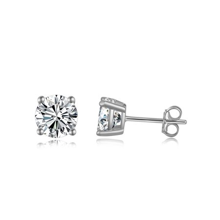 Emma Manor Gold Plated 925 Sterling Silver 4 Prong 7mm Round Cut Cubic Zirconia Stud Earring