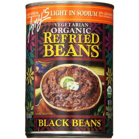 (6 Pack) Amy's Vegetarian Organic Refried Beans, Light In Sodium Black, 15.4 Ounce Amys Organic Black Bean