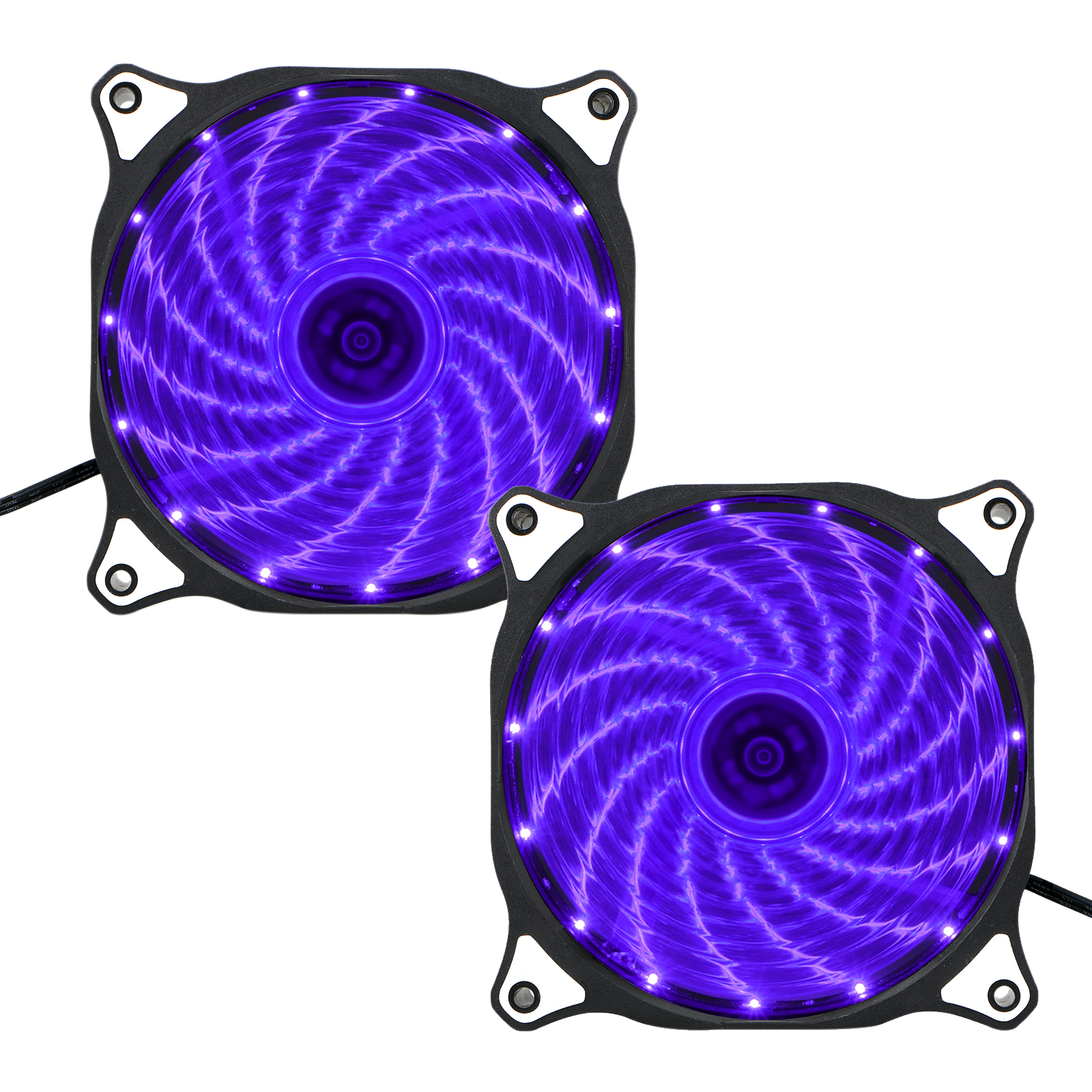 TSV 2 Pack 120mm 15 LED Neon Light Computer PC Case Cooling Fan Quiet Sleeve Bearing