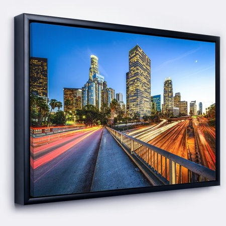 DESIGN ART Designart 'Downtown LA with Traffic Trail' Cityscape Framed Canvas Print (Downtown La Shopping)
