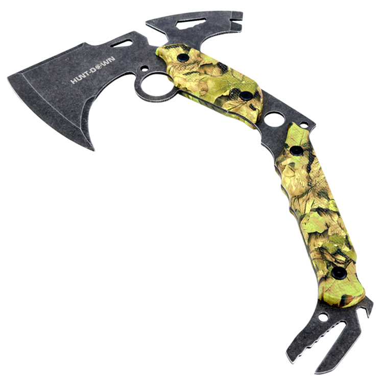 "Hunt-Down 13"" Hunting Survival Axe With Sheath - Green Camo Color Handle"