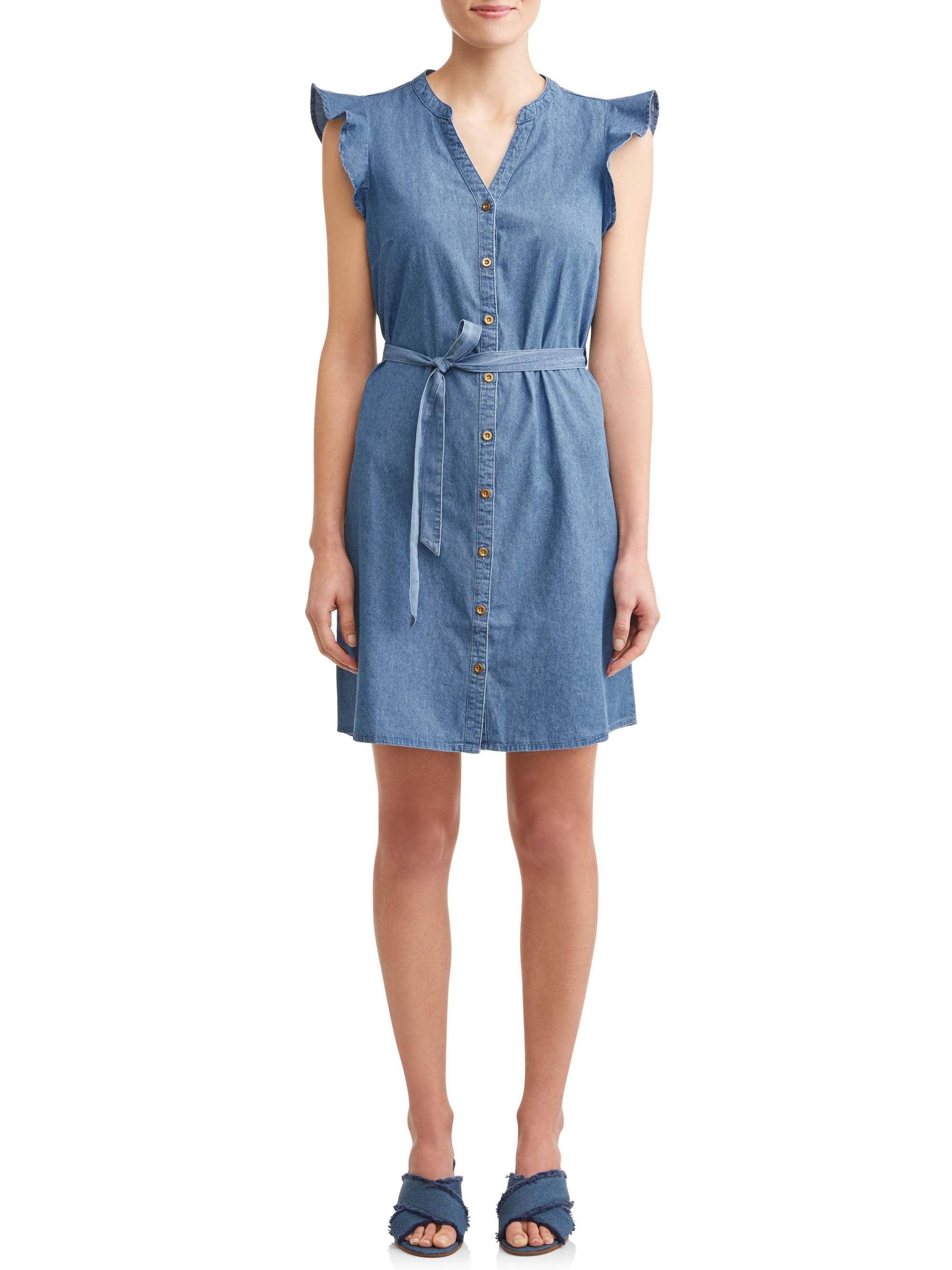 Women's Denim Flutter Sleeve Belted Shirt Dress