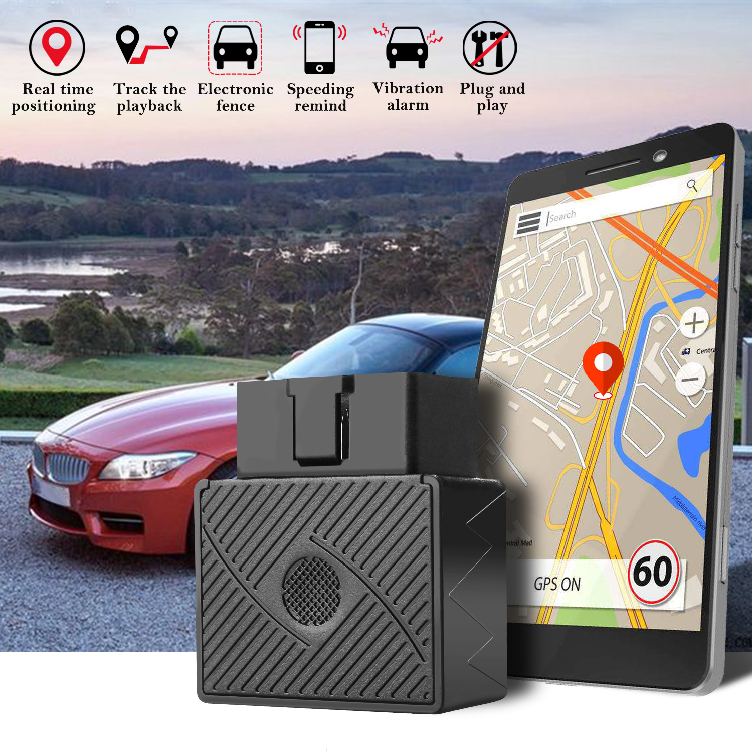 AGPtek GSM GPRS Mini OBD II Vehicle Car GPS Tracker Realtime Truck Tracking