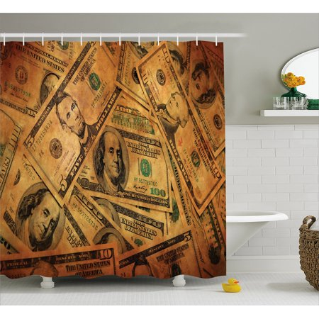 Money Shower Curtain  Grunge Style Background With Fiver Sawbuck And Century Note Important Figures  Fabric Bathroom Set With Hooks  69W X 84L Inches Extra Long  Pale Green Brown  By Ambesonne