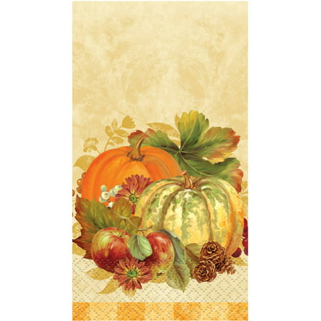 (3 Pack) Pumpkin Harvest Fall Paper Guest Napkins, 7.75 x 4.5 in, 16ct