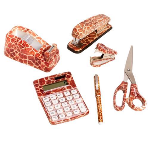 6 Set Giraffe Animal Office Kit Stapler Remover Scissors Tape