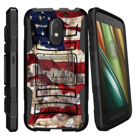 Motorola Moto E3 Case | Moto E 3rd Generation Holster Case [ Clip Armor ] Rugged Armor Case with Clip On Holster + Kickstand - New York USA Flag (Hdx 3rd Generation Cases)