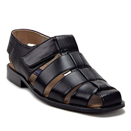 Men's 44327 Leather Lined Caged Closed Toe Slip On Dress Sandals, Black, 11 ()