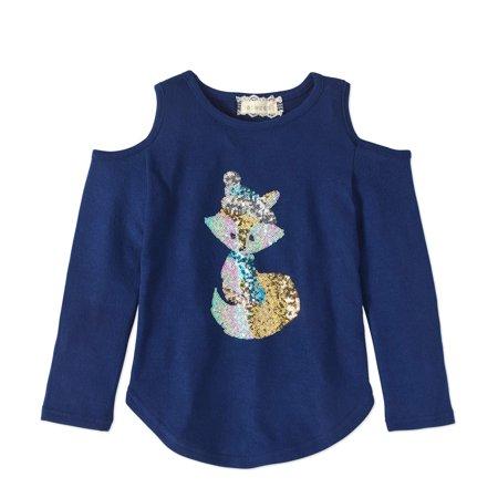 Btween Girls' Cold Shoulder Sequin Graphic Long Sleeve Top