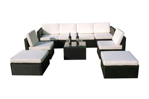 mcombo 9 pc cozy outdoor garden patio rattan wicker furniture sectional sofa cushioned seats - Outdoor Sectionals
