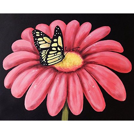 Canvas Butterflys Snack By Ed Capeau 16X12 Canvas Gallery Wrap Giclee Edition Art Print Poster Wall Decor Pink Flower Color Pop Monarch Butterfly Floral