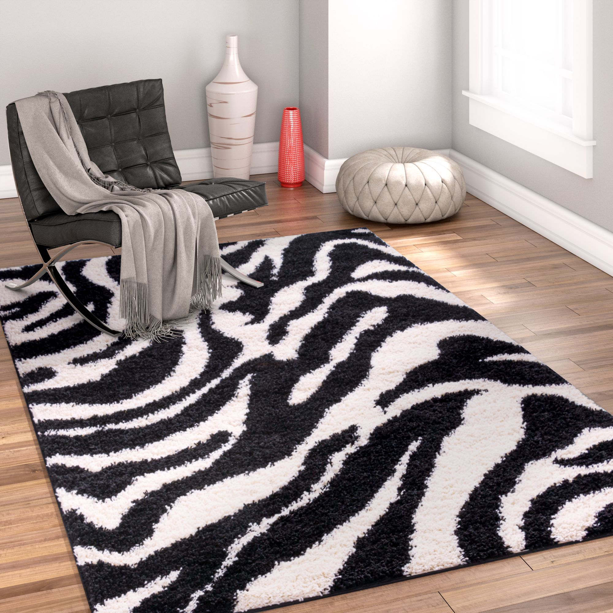 Well Woven Madison Shag Safari Zebra Black Area Rug