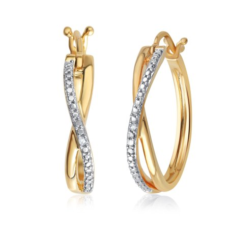 Genuine 0.01 Carat Natural Diamond Accent Twisted Hoop Earrings In 14K Yellow Gold Plated