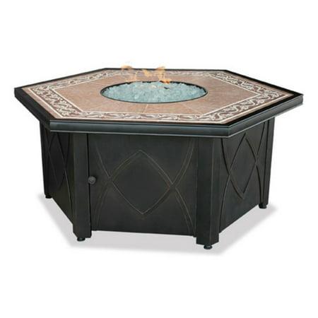Hex LP Gas Fire Pit Bowl with Decorative Ceramic Tile Mantel