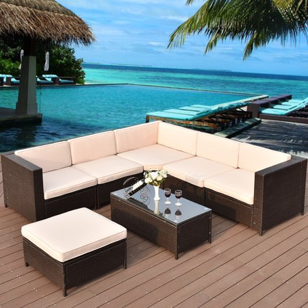 Gymax 7PC Patio Garden Rattan Wicker Furniture Set ()