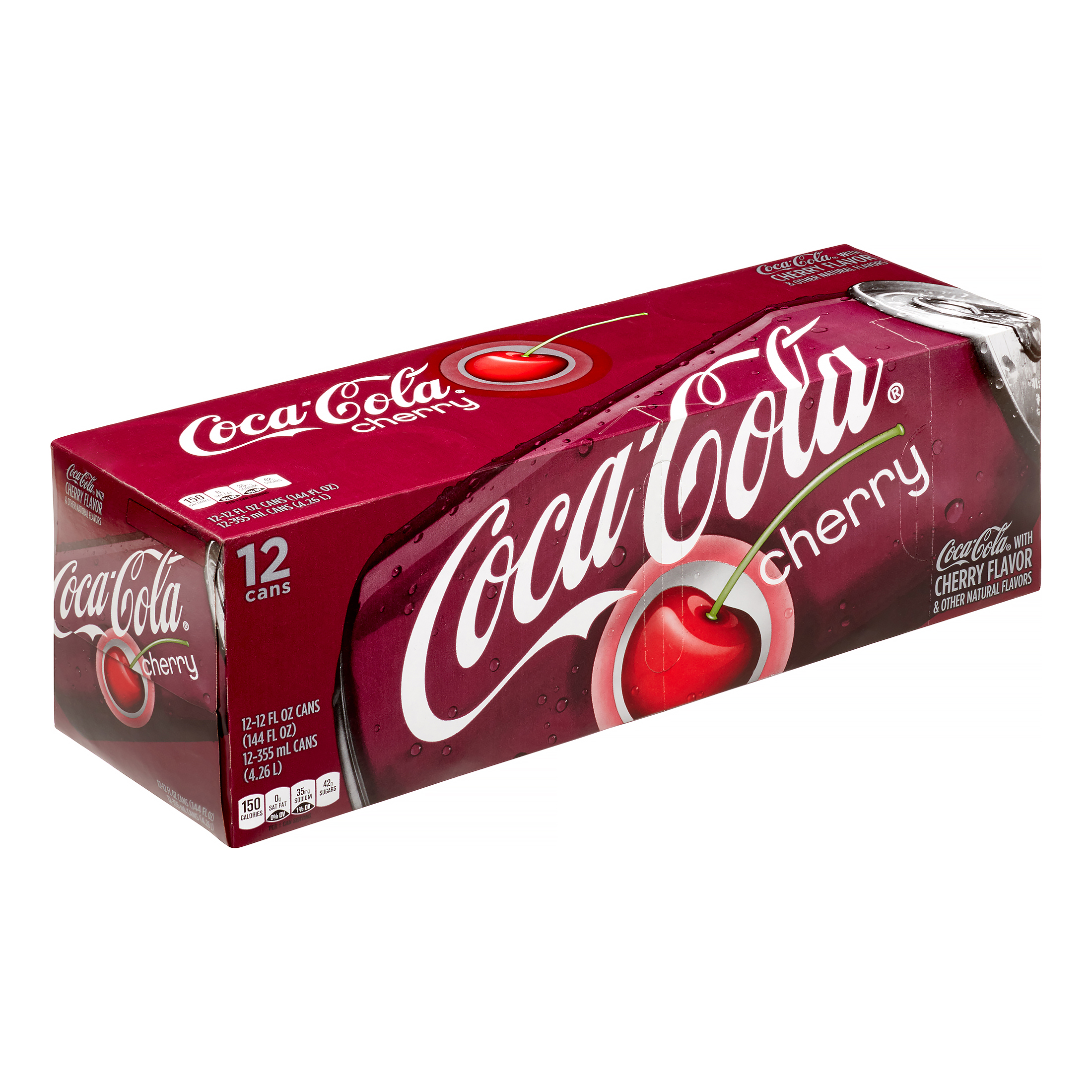 (3 Pack) Coca-Cola Soda, Cherry, 12 Fl Oz, 12 Count