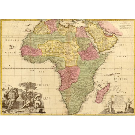 1725 English Map Of Africa Identifying Kingdoms And Within The Large Regions Barbary