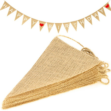 Novelty Place 15Pcs Burlap Banner - 14 Ft Triangle Flag - DIY Hand Painted Home Decorations for Holiday, Birthday, Wedding, Graduation and Party (Cute Graduation Decorations)