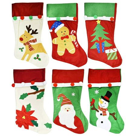 Set of 6 Christmas Holiday Theme Embroidered Felt Stockings - Pompoms - 18