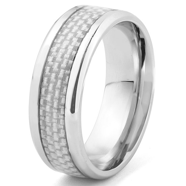 Carbon Fiber Diamontrigue Jewelry: Coastal Jewelry White Carbon Fiber Inlay