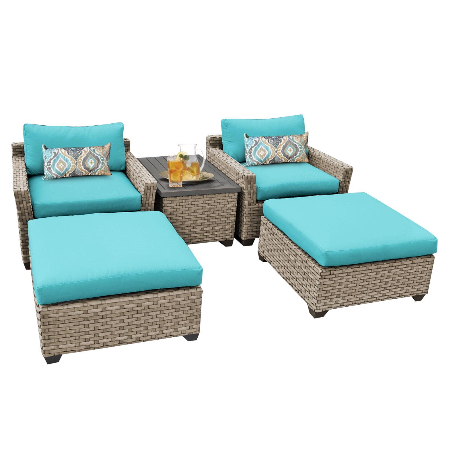 Hampton 5 Piece Outdoor Wicker Patio Furniture Set 05a