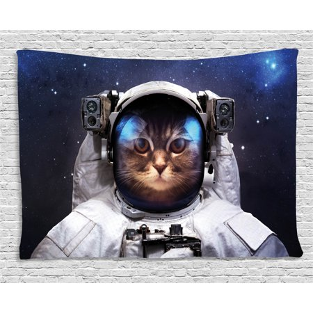 Space Cat Tapestry, Milkyway Galaxy Space Traveller Cat in Suit with Stars Backdrop Image, Wall Hanging for Bedroom Living Room Dorm Decor, 80W X 60L Inches, Navy Blue and White, by Ambesonne