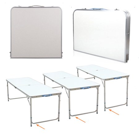 4Ft Portable Multipurpose Folding Table Collapsible Picnic Aluminum Adjustable Table White Fold Up Square Desk for Hiking Camping Wedding Dining Party Patio Outdoor BBQ Yard